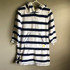 Mini Boden striped terry cloth swim coverup 2-3Y